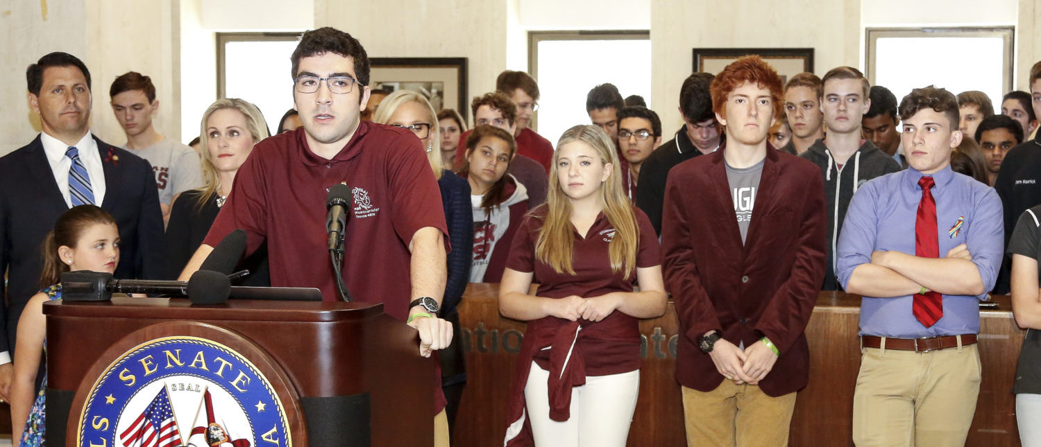 TALLAHASSEE, FL - FEBRUARY 21: Lorenzo Prado, a student from Marjory Stoneman Douglas High School, speaks at the Florida State Capitol building on February 21, 2018 in Tallahassee, Florida. In the wake of last week's deadly mass shooting that left 17 people dead, thousands of supporters joined the Parkland students to call for gun reform. (Photo by Don Juan Moore/Getty Images)