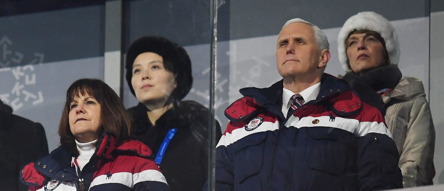 PYEONGCHANG-GUN, SOUTH KOREA - FEBRUARY 09: U.S. Vice President Mike Pence and North Korean Leader Kim Jong Un's sister Kim Yo Jong (back left) watch on during the Opening Ceremony of the PyeongChang 2018 Winter Olympic Games at PyeongChang Olympic Stadium on February 9, 2018 in Pyeongchang-gun, South Korea. (Photo by Matthias Hangst/Getty Images)