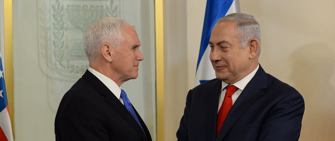 In this handout photo provided by the Israel Government Press Office (GPO), U.S. vice President Mike Pence (L) meets with Israeli Prime Minister Benjamin Netanyahu at the Prime Minister's Office  on January 22, 2018 in Jerusalem, Israel. (Photo by Haim Zach/GPO via Getty Images)