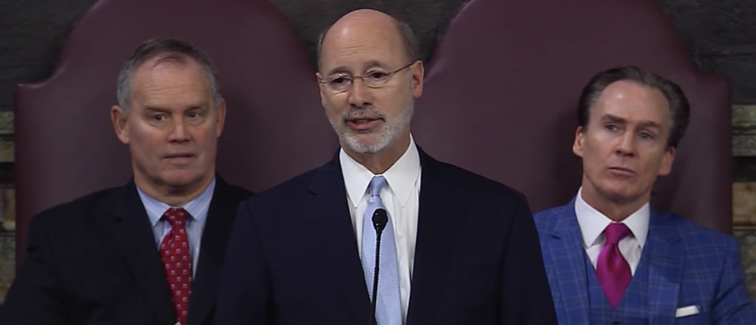 Pennsylvania Gov. Tom Wolf address the state legislature flanked by statehouse leaders in 2017. (Screenshot/Tom Wolf)