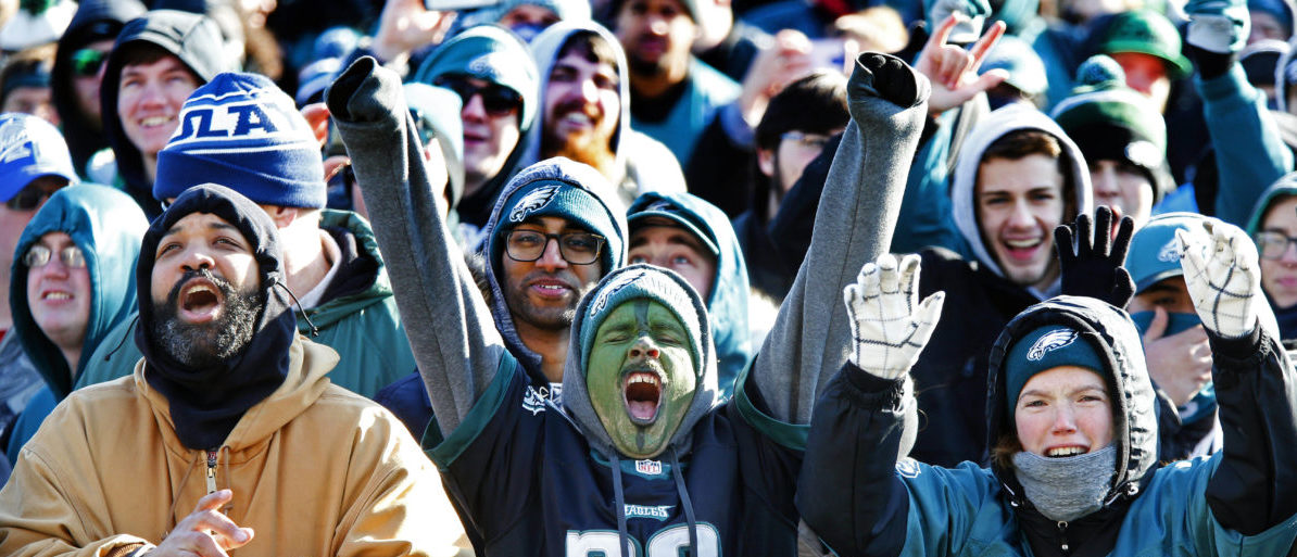 Feb 8, 2018; Philadelphia, PA, USA; Philadelphia Eagles fans cheer as they watch the replay of the Super Bowl during Philadelphia Eagles celebration at Philadelphia Art Museum. Mandatory Credit: Noah K. Murray-USA TODAY Sports