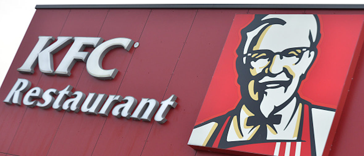Picture taken on January 25, 2016, in Laval, northwestern France, shows the Kentucky Fried Chicken (KFC) logo at a KFC restaurant.  / AFP / JEAN-FRANCOIS MONIER        (Photo credit should read JEAN-FRANCOIS MONIER/AFP/Getty Images)