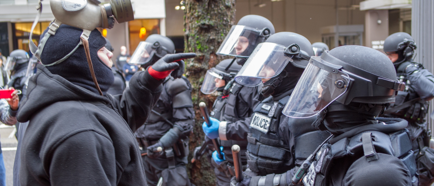 Don't Shoot PDX / Black Lives Matter protest in downtown Portland turns violent when the Portland Police Department intervenes and arrests activist (Shutterstock/Diego G Diaz)