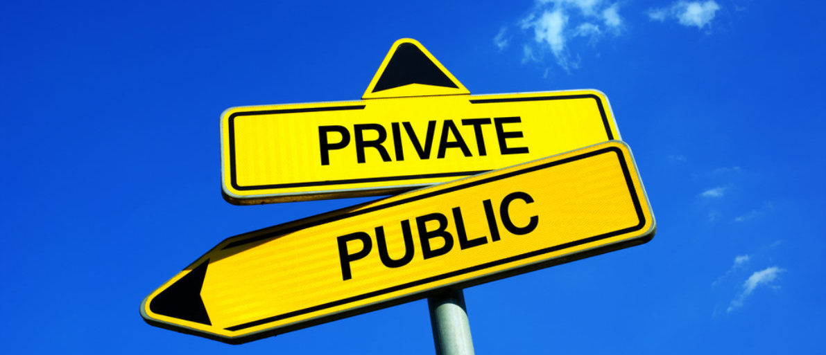 The private/public sign symbolizes a key debate between capitalism and socialism. (Shutterstock/M-SUR)