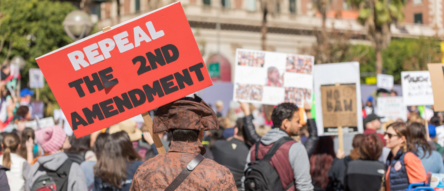 "LOS ANGELES, CALIFORNIA - FEBRUARY 19, 2018: ""Repeal the 2nd Amendment"" sign held by a protester at the People's Rally Against Gun Violence in Pershing Square.Sonnenberg Shots / Shutterstock.com"