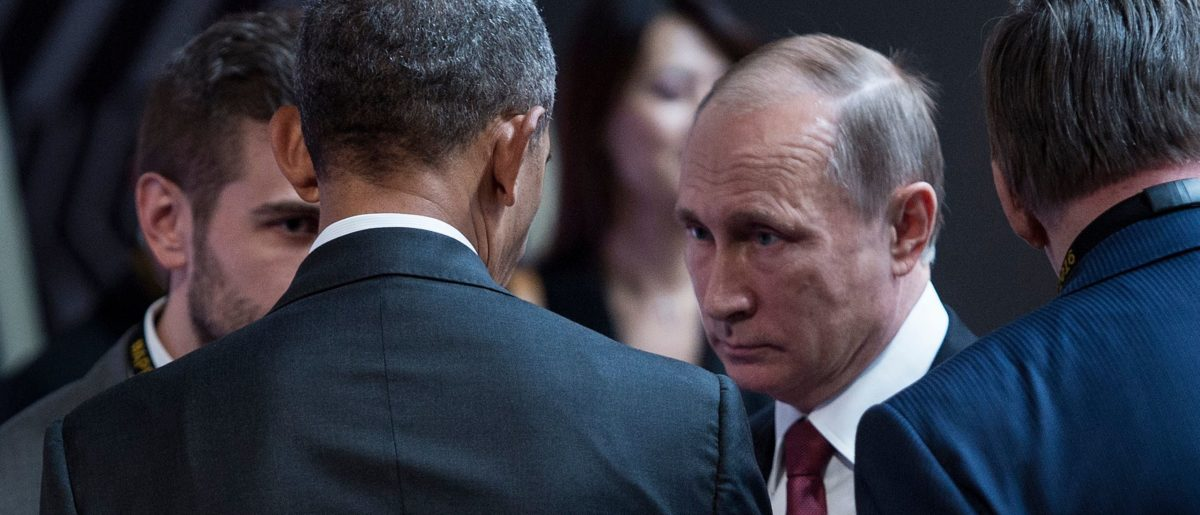 Barack Obama and Vladimir Putin on Nov. 20, 2016. Brendan Smialowski/AFP/Getty Images.