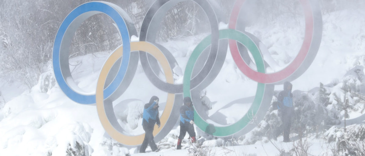 February 7, 2018 - The Winter Olympics Symbol is seen at the biathlon venue in South Korea. REUTERS/Murad Sezer