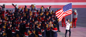 Pyeongchang 2018 Winter Olympics – Opening Ceremony – Pyeongchang Olympic Stadium- Pyeongchang, South Korea – February 9, 2018 - Erin Hamlin of U.S. carries the national flag during the opening ceremony (REUTERS/Phil Noble).