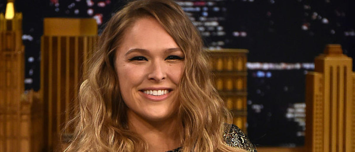 """NEW YORK, NY - MARCH 24: Ronda Rousey Visits """"The Tonight Show Starring Jimmy Fallon"""" at Rockefeller Center on March 24, 2015 in New York City. (Photo by Theo Wargo/NBC/Getty Images for """"The Tonight Show Starring Jimmy Fallon"""")"""