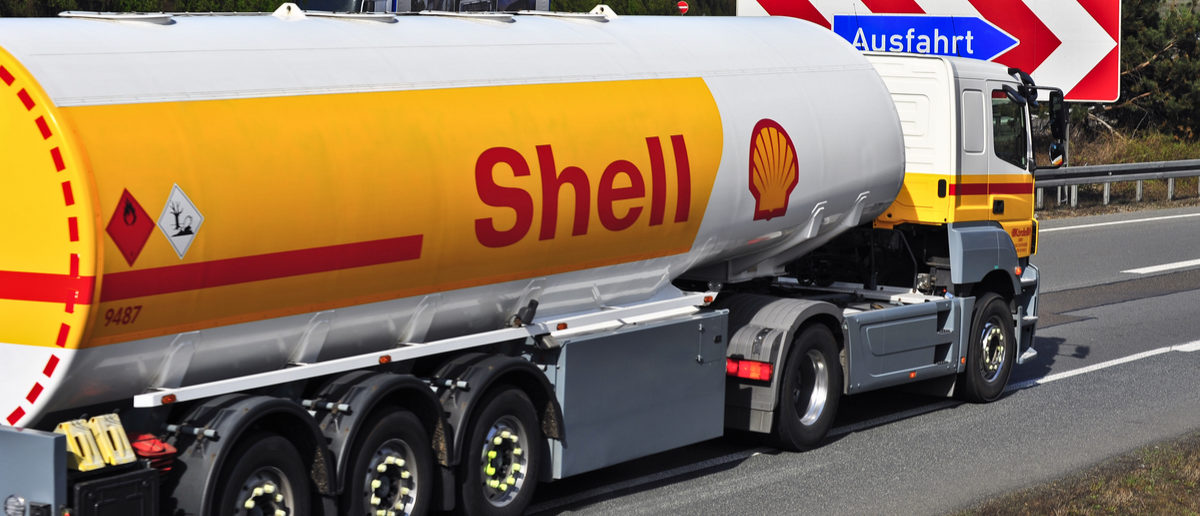 Shell Oil Truck on the highway on April 10,2015 in Frankfurt, Germany.Royal Dutch Shell plc, commonly known as Shell, is an Anglo-Dutch multinational oil and gas company
