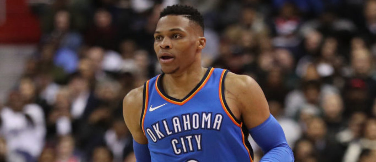 WASHINGTON, DC - JANUARY 30: Russell Westbrook #0 of the Oklahoma City Thunder in action against the Washington Wizards during at Capital One Arena on January 30, 2018 in Washington, DC. (Photo by Patrick Smith/Getty Images)