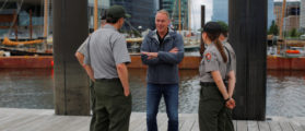 U.S. Interior Secretary Ryan Zinke talks to National Park Service Rangers in Boston