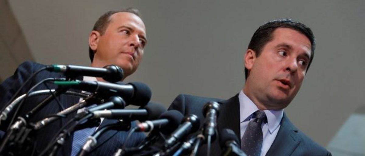 House Select Committee on Intelligence Chairman Rep. Devin Nunes (R-CA) and Ranking Member Rep. Adam Schiff (D-CA) speak with the media about the ongoing Russia investigation on Capitol Hill in Washington, D.C., U.S. March 15, 2017. REUTERS/Aaron P. Bernstein