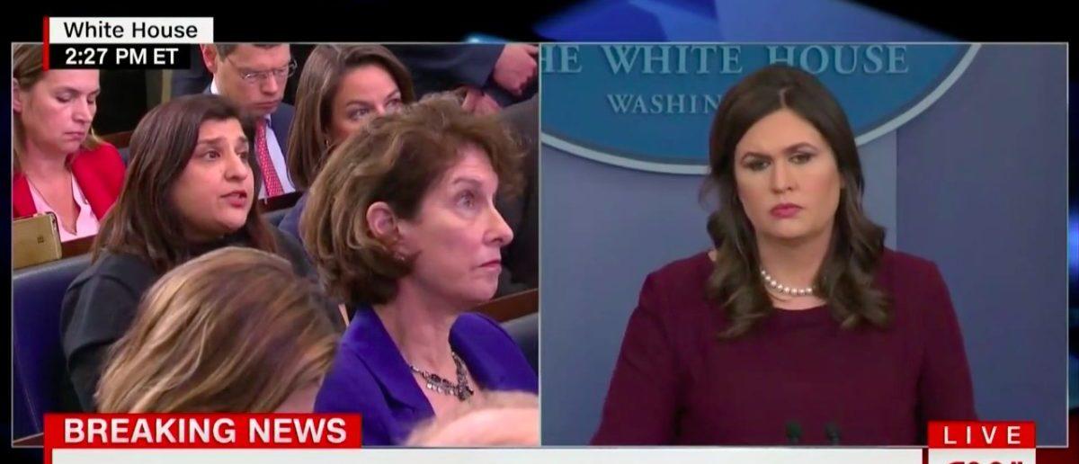 Screen Shot Sarah Sanders (CNN: Feb 27, 2018)
