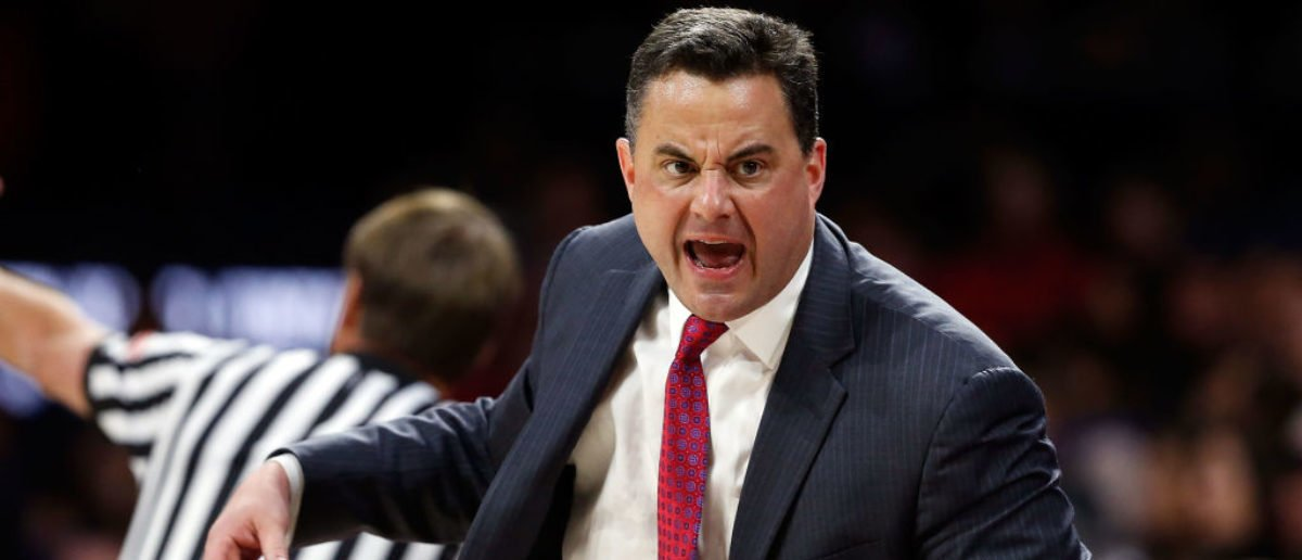 TUCSON, AZ - FEBRUARY 8: Head coach Sean Miller of the Arizona Wildcats gestures to the bench during the first half of the college basketball game against the UCLA Bruins at McKale Center on February 8, 2018 in Tucson, Arizona. (Photo by Chris Coduto/Getty Images)