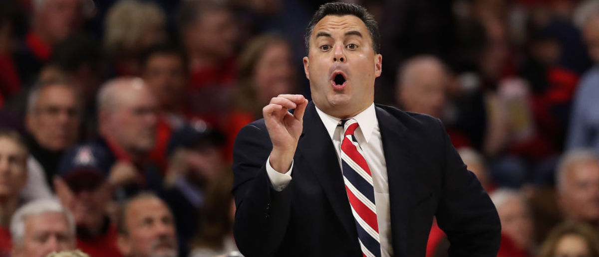 TUCSON, AZ - DECEMBER 21: Head coach Sean Miller of the Arizona Wildcats reacts during the first half of the college basketball game against the Connecticut Huskies at McKale Center on December 21, 2017 in Tucson, Arizona. The Wildcats defeated the Huskies 73-58. (Photo by Christian Petersen/Getty Images)
