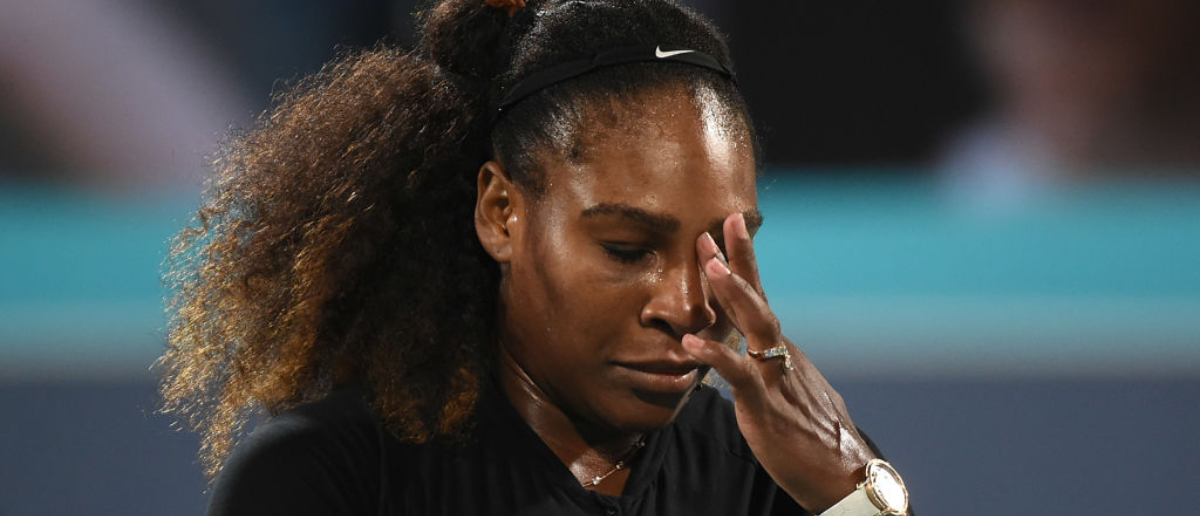 ABU DHABI, UNITED ARAB EMIRATES - DECEMBER 30: Serena Williams of United States looks dejected during her Ladies Final match against Jelena Ostapenko of Latvia on day three of the Mubadala World Tennis Championship at International Tennis Centre Zayed Sports City on December 30, 2017 in Abu Dhabi, United Arab Emirates. (Photo by Tom Dulat/Getty Images)
