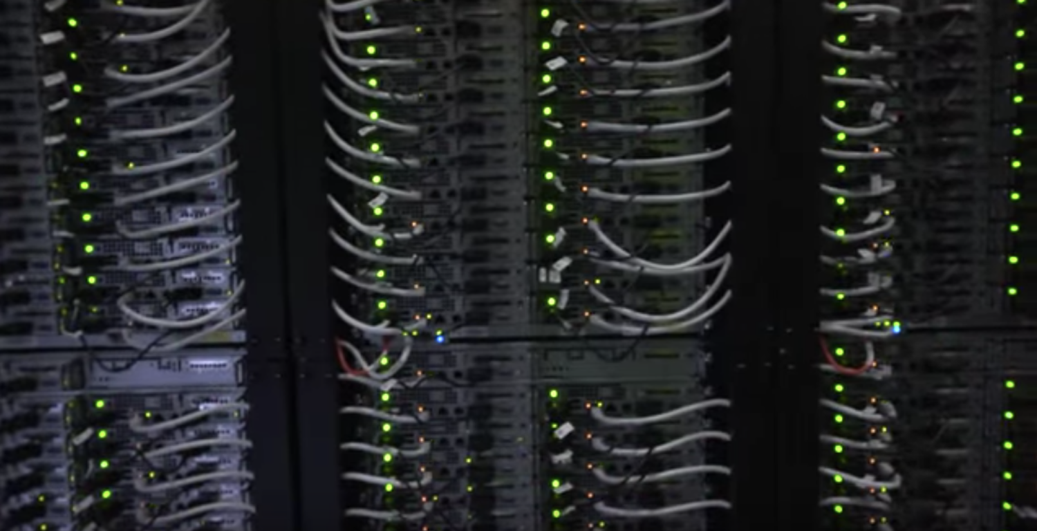 Servers at a Microsoft data center. (YouTube screenshot/Microsoft Datacenters)