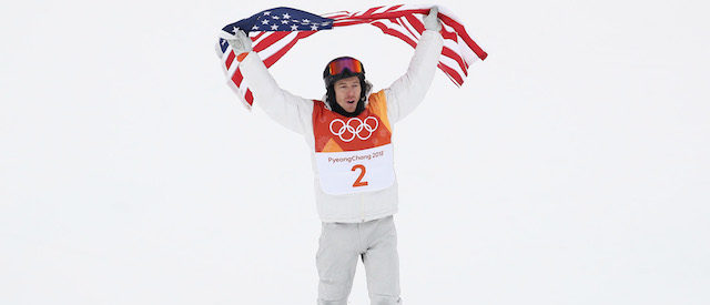 PYEONGCHANG-GUN, SOUTH KOREA - FEBRUARY 14: Gold medalist Shaun White of the United States celebrates during the Snowboard Men's Halfpipe Final on day five of the PyeongChang 2018 Winter Olympics at Phoenix Snow Park on February 14, 2018 in Pyeongchang-gun, South Korea. (Photo by Clive Rose/Getty Images)