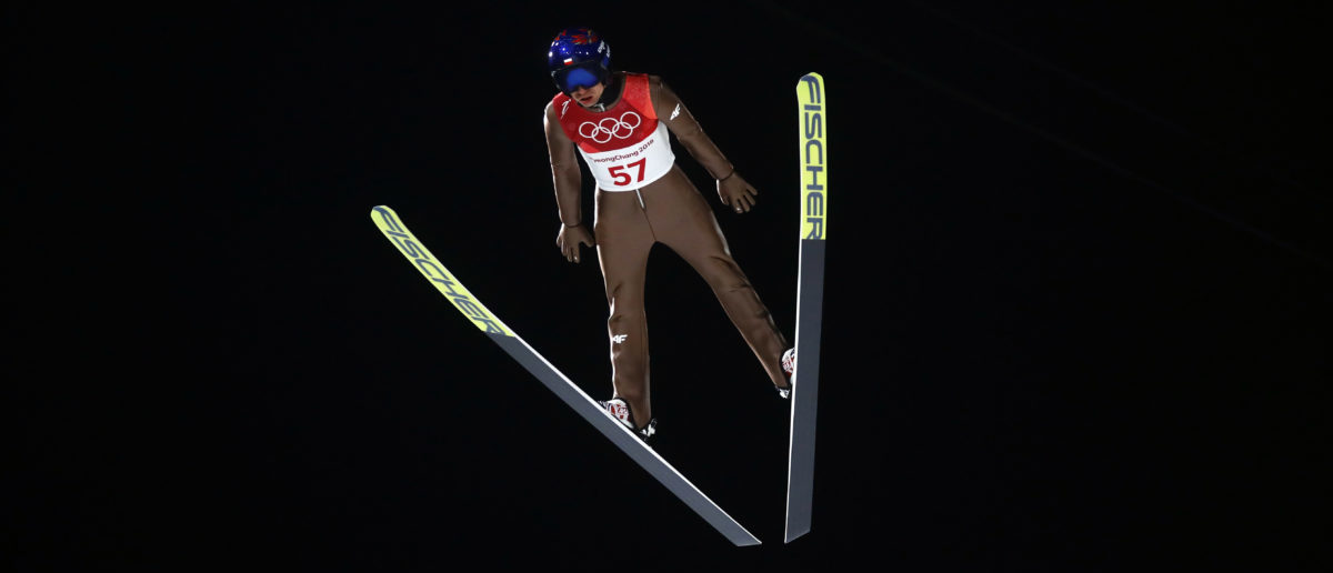 Ski Jumping – Pyeongchang 2018 Winter Olympics – Men's Normal Hill Individual Qualifications – Alpensia Ski Jumping Centre - Pyeongchang, South Korea – February 8, 2018 - Kamil Stoch of Poland competes. REUTERS/Kai Pfaffenbach