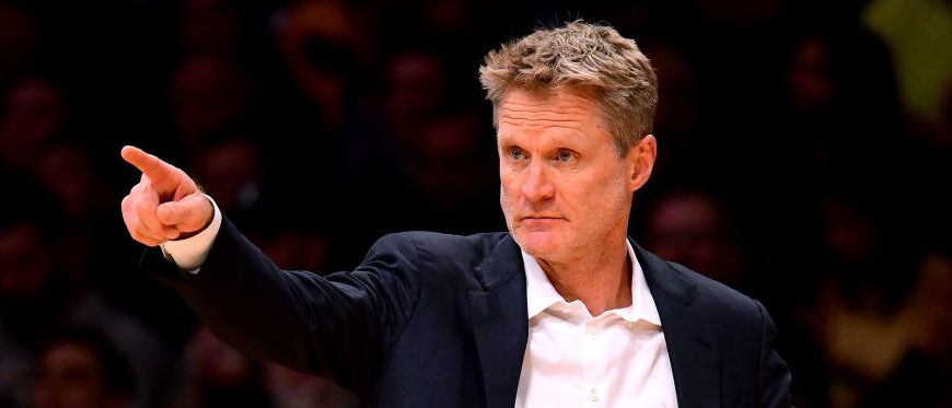 Steve Kerr of the Golden State Warriors directs his players during the first half against the Los Angeles Lakers at Staples Center on November 29, 2017 in Los Angeles. (Photo by Harry How/Getty Images)
