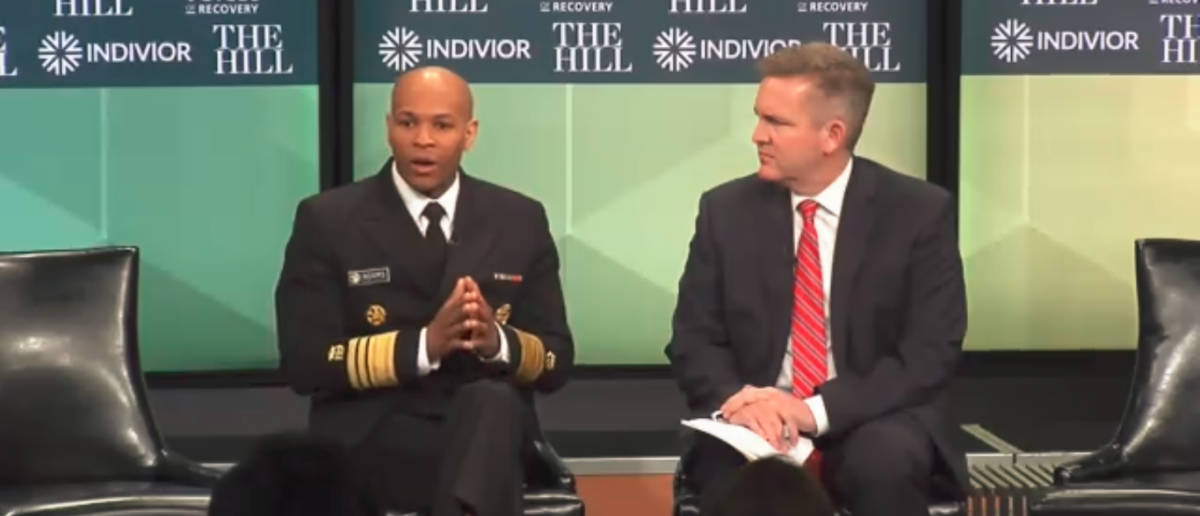 Surgeon General Dr. Adams Talks Opioid Crisis At Wash DC Nuseum 2-14-18 (Screenshot/The Hill)