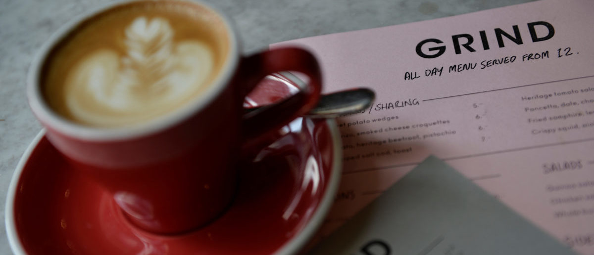A cup of coffee is seen in the London Grind coffee shop, near the scene of the recent London Bridge attacks, in central London, Britain June14, 2017. Picture taken June 14, 2017. REUTERS/Hannah McKay