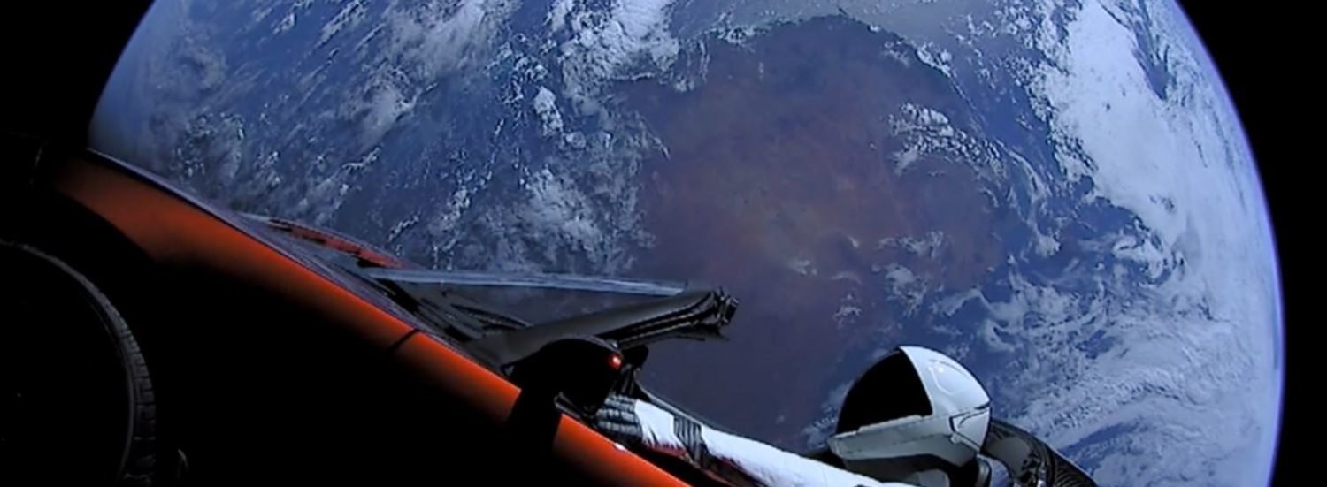 A cherry-red Tesla Roadster automobile floats through space after it was carried there by SpaceX's Falcon Heavy in this image obtained by Reuters on February 9, 2018.