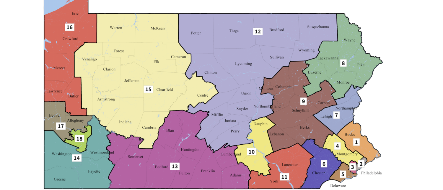 The new Pennsylvania congressional district map, as drawn by the state supreme court. (Screenshot/Supreme Court of Pennsylvania)
