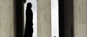 A man looks toward the statue of Thomas Jefferson during a visit to the Jefferson Memorial in Washington July 2, 2013. Thomas Jefferson was the principal author of the Declaration of Independence, which was adopted on July 4, 1776. The nation's capital will host a wide array of events to commemorate Independence Day. REUTERS/Kevin Lamarque