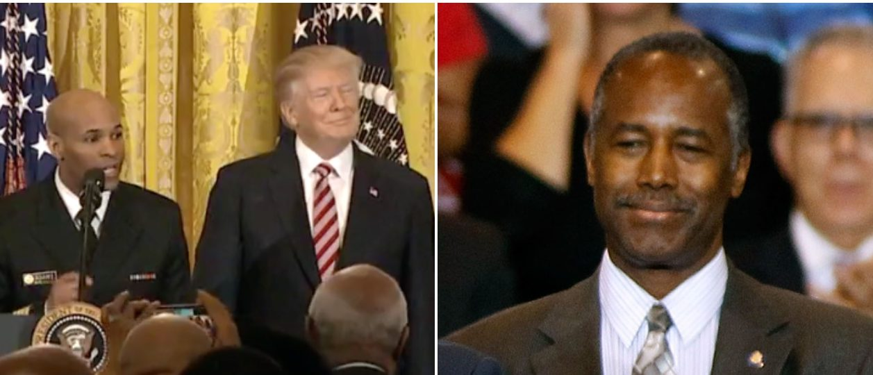 Trump Carson screenshot Left: Fox News screenshot Right: Photo by Ralph Freso/Getty Images