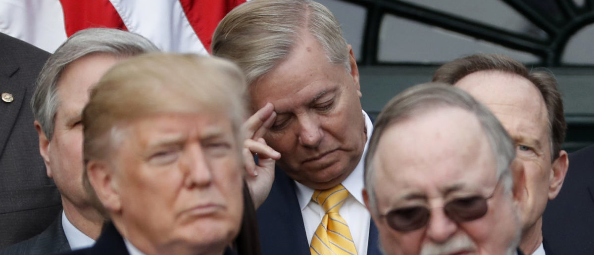 U.S. Senator Lindsey Graham (R-SC) scratches his brow as he stands behind President Donald Trump during an event with Republican lawmakers to mark passage of sweeping tax overhaul legislation at the White House in Washington, U.S., December 20, 2017. REUTERS/Jonathan Ernst - HP1EDCK1P9N53