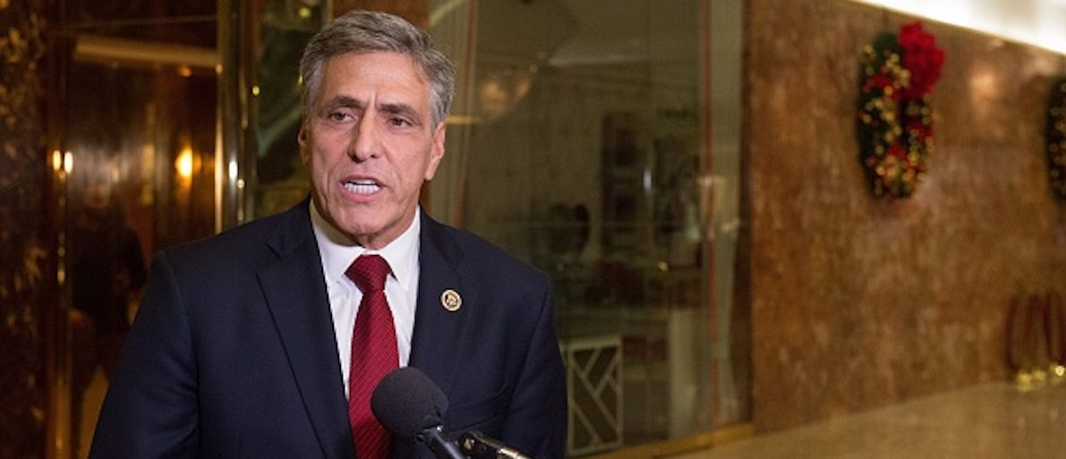 U.S. Rep. Lou Barletta speaks with the media in the lobby of Trump Tower November 29, 2016 in New York. / AFP / Bryan R. Smith (Photo credit should read BRYAN R. SMITH/AFP/Getty Images)