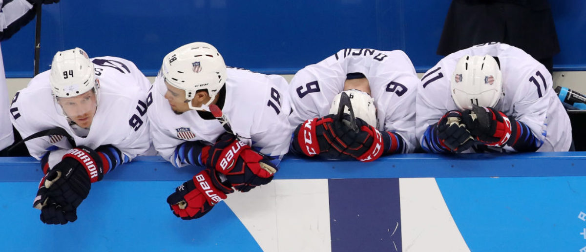 GANGNEUNG, SOUTH KOREA - FEBRUARY 21: Team United States reacts after losing 3-2 in an overtime shootout to the Czech Republic during the Men's Play-offs Quarterfinals on day twelve of the PyeongChang 2018 Winter Olympic Games at Gangneung Hockey Centre on February 21, 2018 in Gangneung, South Korea. (Photo by Bruce Bennett/Getty Images)