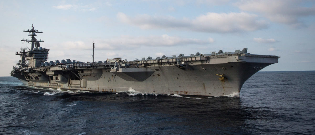 U.S. aircraft carrier USS Carl Vinson approaches USNS Rappahannock (not shown) to perform an underway replenishment in the Pacific Ocean on May 27, 2017. Rappahannock is a Military Sealift Command ship that aides the U.S. Navy mission by delivering food, fuel and supplies to Navy vessels, thusly extending the Navy vessel's ability to stay at sea. Picture taken on on May 27, 2017. Torrey W. Lee/Courtesy U.S. Navy/Handout via REUTERS