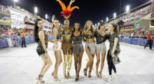The Victoria's Secret models, hosted by Brazilian Lais, can be seen hanging out on the floor of the Sambadrome, where the world famous displays of competing samba schools take place during the Rio de Janeiro carnival. They were joined by fellow models Barbara Fialho and Carol Francischini as they enjoyed themselves in front of the packed arena before taking their places at an exclusive box. Pictured: Adriana Lima, Barbara Fialho, Jasmine Tookes, Fernanda Tavares, Carol Francischini, Fernanda Liz (Picture by: Leo Marinho / Splash News)