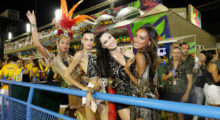 The Victoria's Secret models, hosted by Brazilian Lais, can be seen hanging out on the floor of the Sambadrome, where the world famous displays of competing samba schools take place during the Rio de Janeiro carnival. They were joined by fellow models Barbara Fialho and Carol Francischini as they enjoyed themselves in front of the packed arena before taking their places at an exclusive box.  Pictured: Lais Ribeiro, Barbara Fialho, Adriana Lima, Jasmine Tookes (Picture by: Leo Marinho / Splash News)
