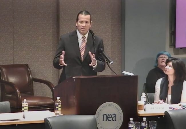 William Mendoza speaks at a National Education Association event in fall 2015. (Photo: Screenshot/YouTube/National Education Association)