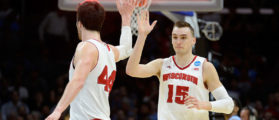 LOS ANGELES, CA - MARCH 26: Sam Dekker #15 of the Wisconsin Badgers celebrates with Frank Kaminsky #44 after Dekker scores at the end of the first half against the North Carolina Tar Heels during the West Regional Semifinal of the 2015 NCAA Men's Basketball Tournament at Staples Center on March 26, 2015 in Los Angeles, California. (Photo by Harry How/Getty Images)
