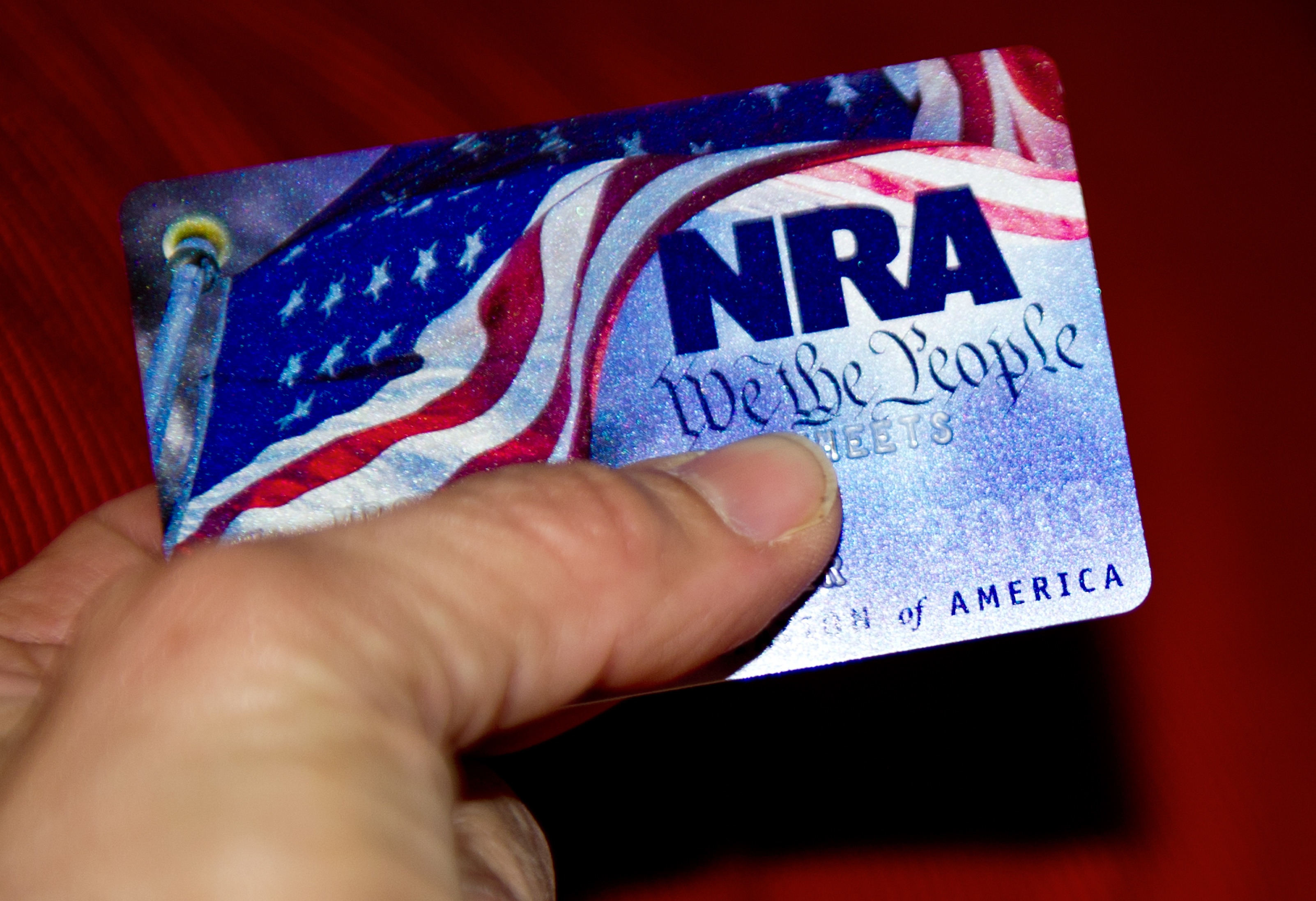 A membership card for the National Rifle Association (NRA) is seen on January 10, 2013 in Manassas, Virginia. (KAREN BLEIER/AFP/Getty Images)