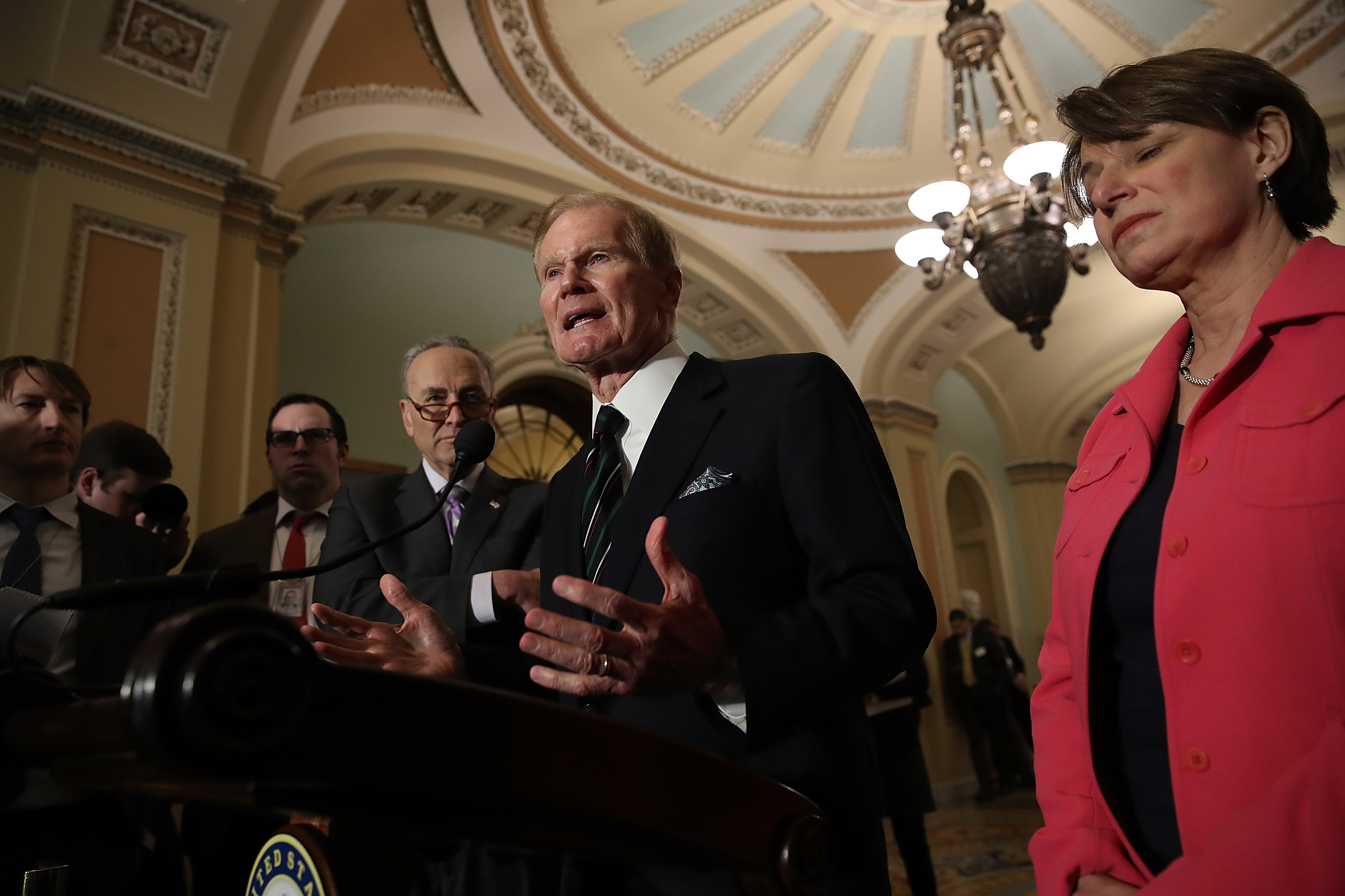 WASHINGTON, DC - FEBRUARY 27: Sen. Bill Nelson (D-FL) speaks at a press conference at the U.S. Capitol February 27, 2018 in Washington, DC. Senate Minority Leader Chuck Schumer answered a range of questions related primarily to planned gun reform legislation by the U.S. Congress. (Photo by Win McNamee/Getty Images)