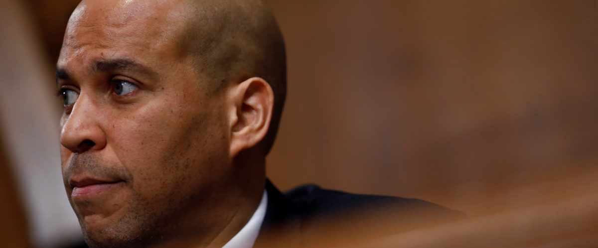 U.S. Sen. Cory Booker (D-NJ) speaks during a U.S. Senate Committee on Environment and Public Works meeting on Capitol Hill in Washington, U.S. February 7, 2018. REUTERS/Eric Thayer - RC1A2DF6BD90