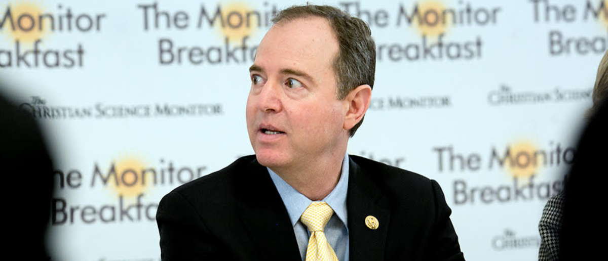 Rep. Adam Schiff responds to questions at a February 14, 2018 newsmaker's breakfast in Washington, D.C. hosted by the Christian Science Monitor