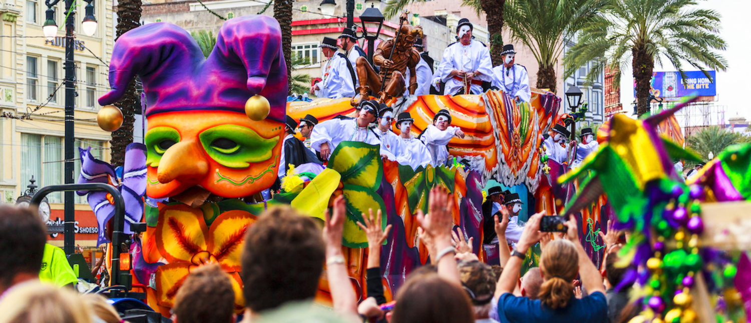 A celebration during Mardi Gras in New Orleans. (Shutterstock/GTS Productions)