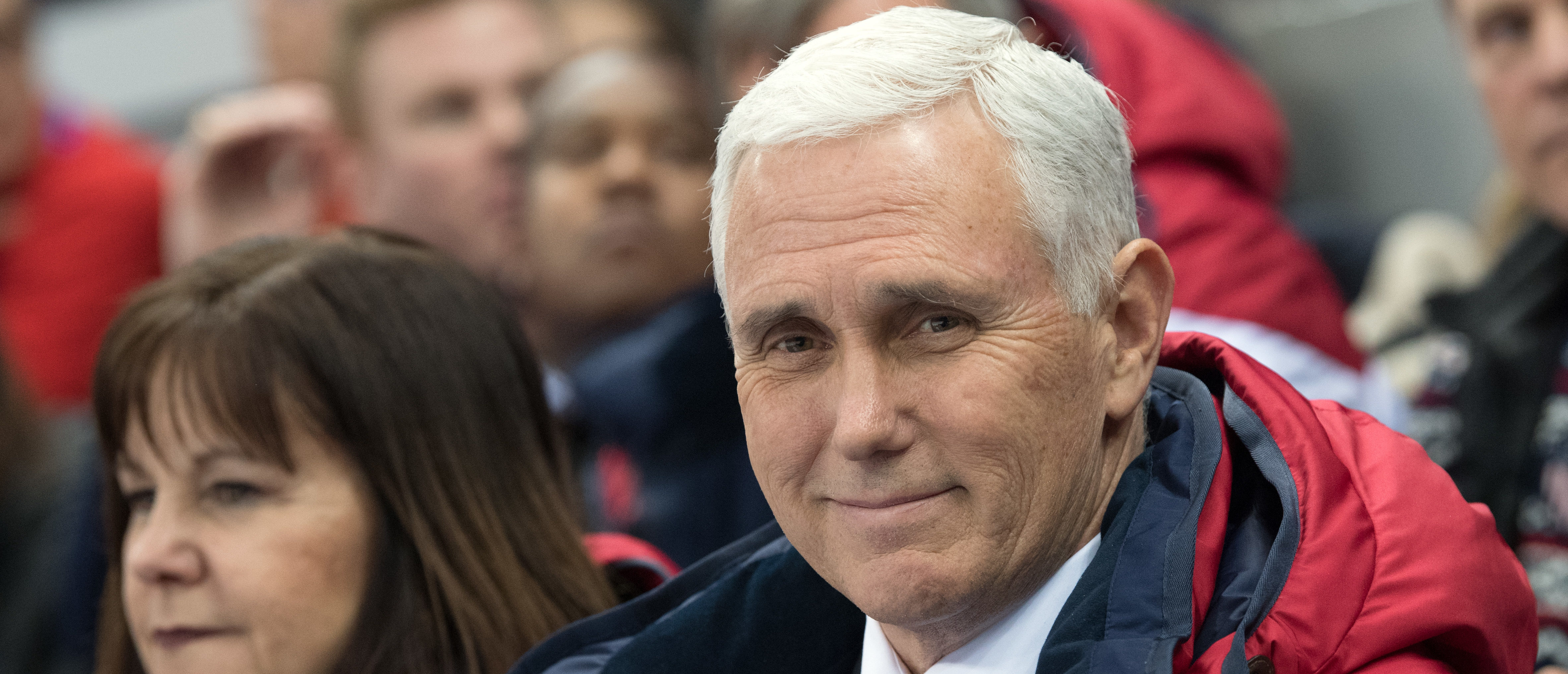 GANGNEUNG, SOUTH KOREA - FEBRUARY 10: United States Vice President Mike Pence and his wife Karen watch short track speed skating at Gangneung Ice Arena on February 10, 2018 in Gangneung, South Korea. Mr Pence is on the final day of a three day visit to South Korea where he watched last night's opening ceremony in close proximity to North Korea's ceremonial head of state Kim Yong-nam and Kim Jong-un's sister, Kim Yo-jong. (Photo by Carl Court/Getty Images)