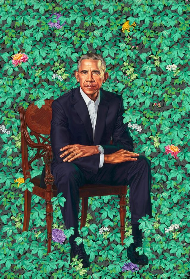 The official portrait of former President Barack. (Kehinde Wiley)