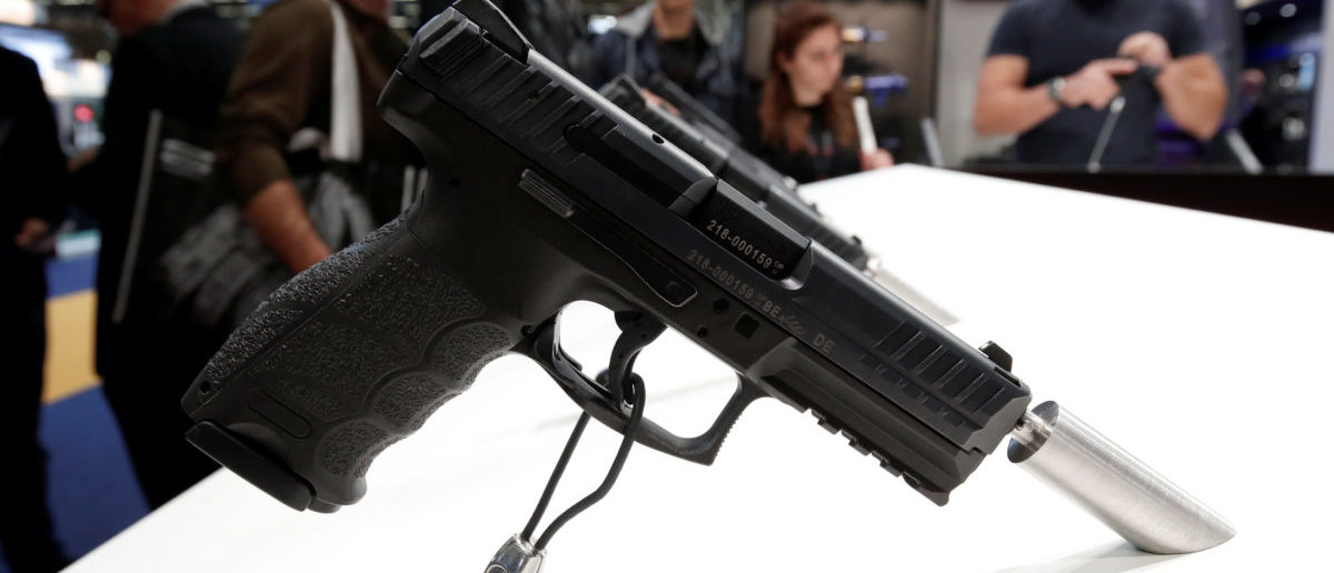 A Heckler & Koch pistol is displayed at the 20th Paris Milipol, the worldwide exhibition dedicated to homeland security, in Villepinte, near Paris, France, November 21, 2017. REUTERS/Benoit Tessier