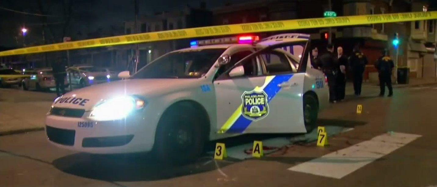 Here is the crime scene surrounding Jesse Hartnett's police cruiser. (Screenshot/NBC Philadelphia)