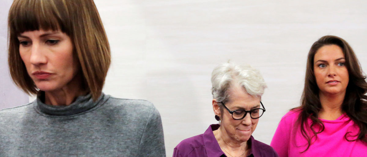 """(L-R) Rachel Crooks, a former receptionist in Trump Tower in 2005, Jessica Leeds and Samantha Holvey, a former Miss North Carolina, exit a news conference for the film """"16 Women and Donald Trump"""" which focuses on women who have publicly accused President Trump of sexual misconduct, in Manhattan, New York, U.S., December 11, 2017. REUTERS/Andrew Kelly"""