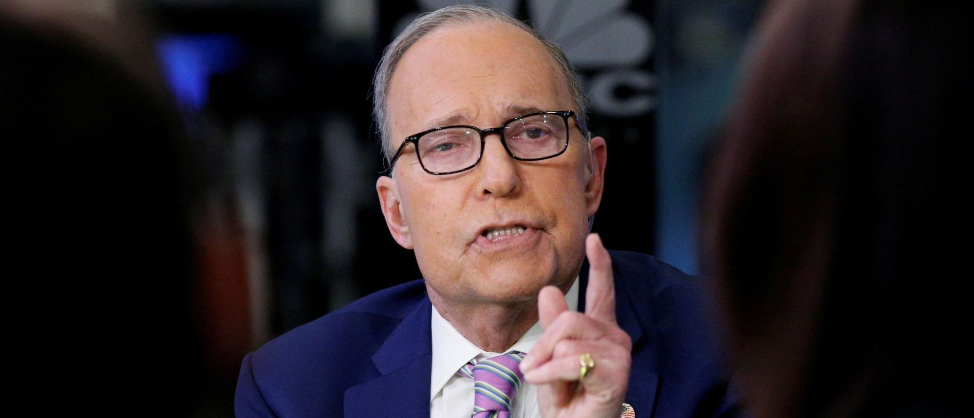 """Economic analyst Lawrence """"Larry"""" Kudlow appears on CNBC at the New York Stock Exchange, (NYSE) in New York, March 7, 2018. REUTERS/Brendan McDermid/File Photo"""